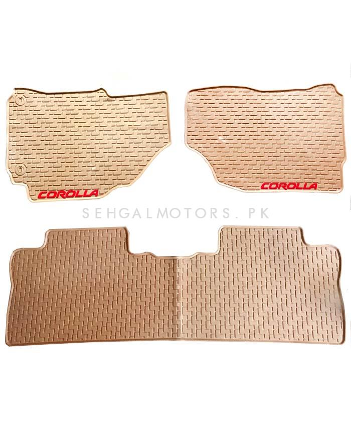 Toyota Corolla PVC Custom Floor Mat Beige Mix Design - Model 2014-2017-SehgalMotors.Pk