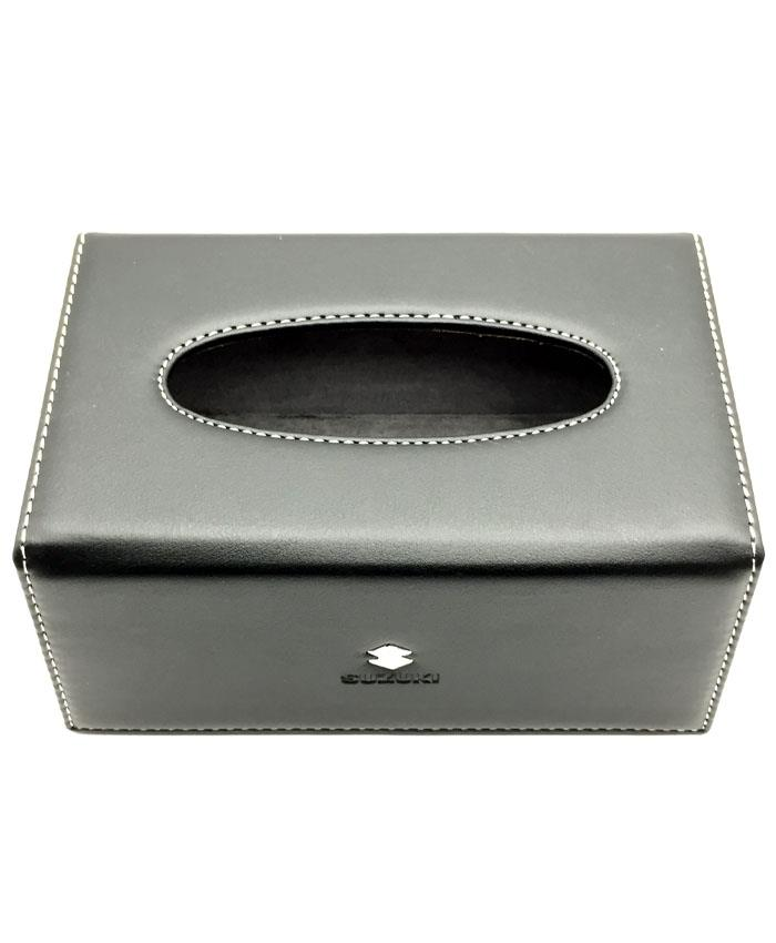 Suzuki Leather Car Tissue Box Black-SehgalMotors.Pk