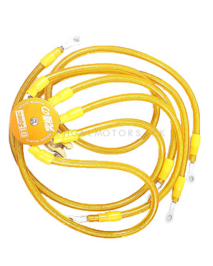 D1 Spec Earth Wires Set - Yellow For Voltage Stabilization and Uniform Current Flow Red Color-SehgalMotors.Pk