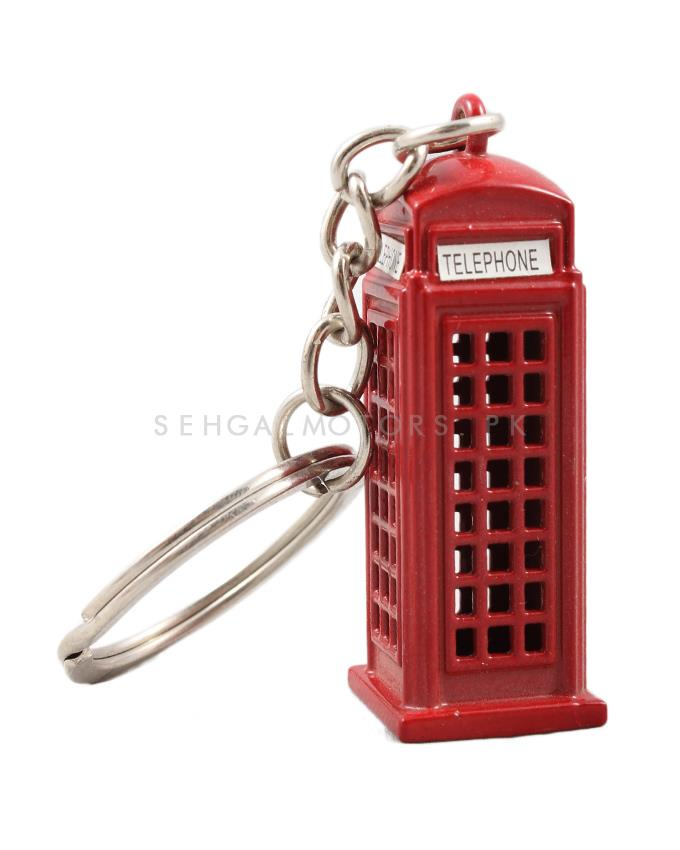 Telephone Booth Metal Key Chain - Red-SehgalMotors.Pk