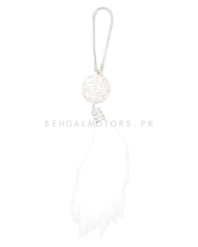 White Diamond Fur Car Hanging-SehgalMotors.Pk