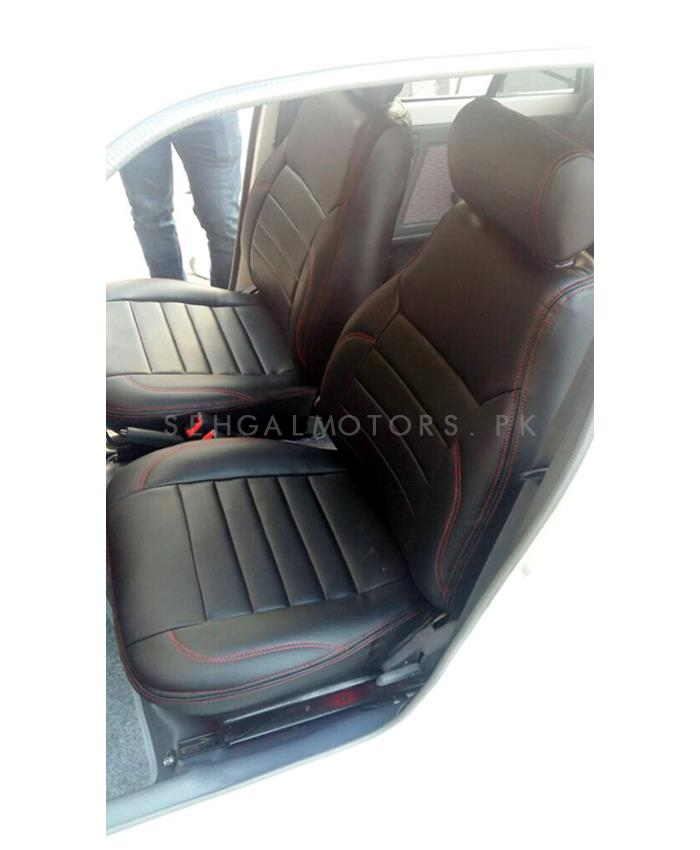 Buy Suzuki Mehran Seat Covers Black With Red Stitching In