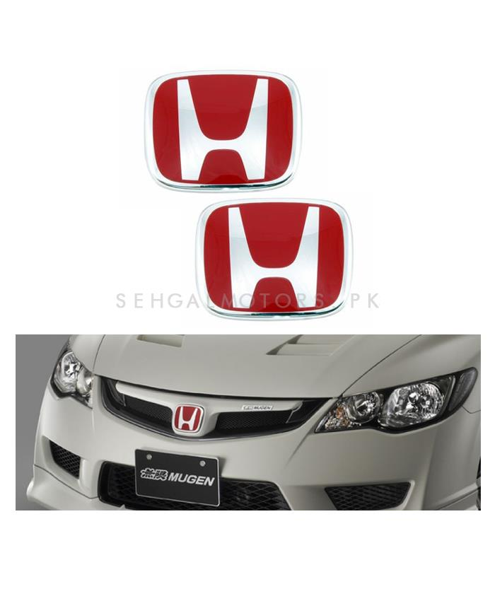 Mugen Honda City Front Back Logos - Pair | Emblem | Decal | Monogram | Logo-SehgalMotors.Pk