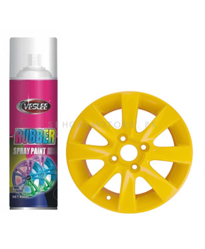Veslee Rubber Paint – Fluorescent Yellow | Auto Car Wheel Hub Spray Film Car Wheel Hub Tire Color Change Paint Film | Wheel Hub Rim Color Changing Film Care-SehgalMotors.Pk