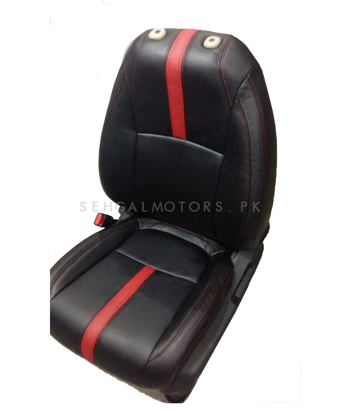 Honda Civic Key Replacement >> Buy Honda Civic Seat Covers Black with Red Stitching and Red Single Line - Model 2016-2019 in ...