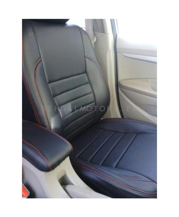 Honda City Seat Covers Straight Lines Black with Red Stitching - Model 2015-2017-SehgalMotors.Pk