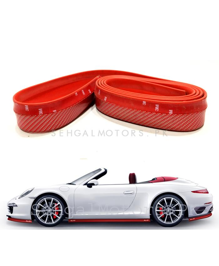 Rubber Lip Carbon Fiber Red-SehgalMotors.Pk