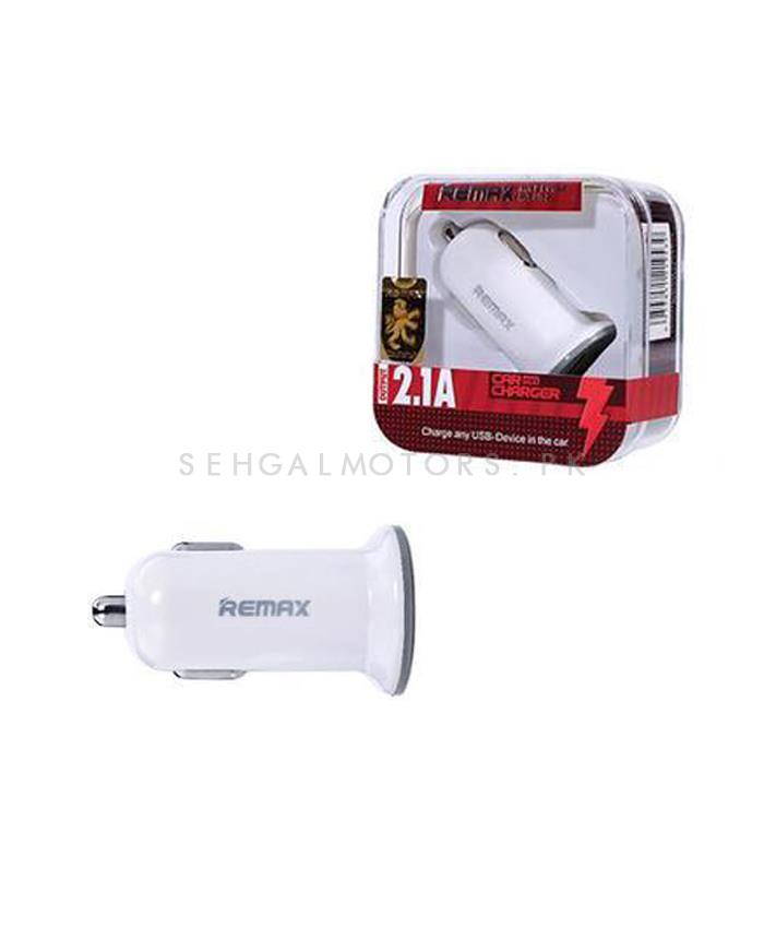 Remax USB Car Mobile Charger 1 Port White - 2.1A | 1 USB Ports Car Charger Universal Intelligent Charging USB Car Charger For iPhone Samsung Android Phone | Auto Quick Charge USB Port Fast Car Charger-SehgalMotors.Pk