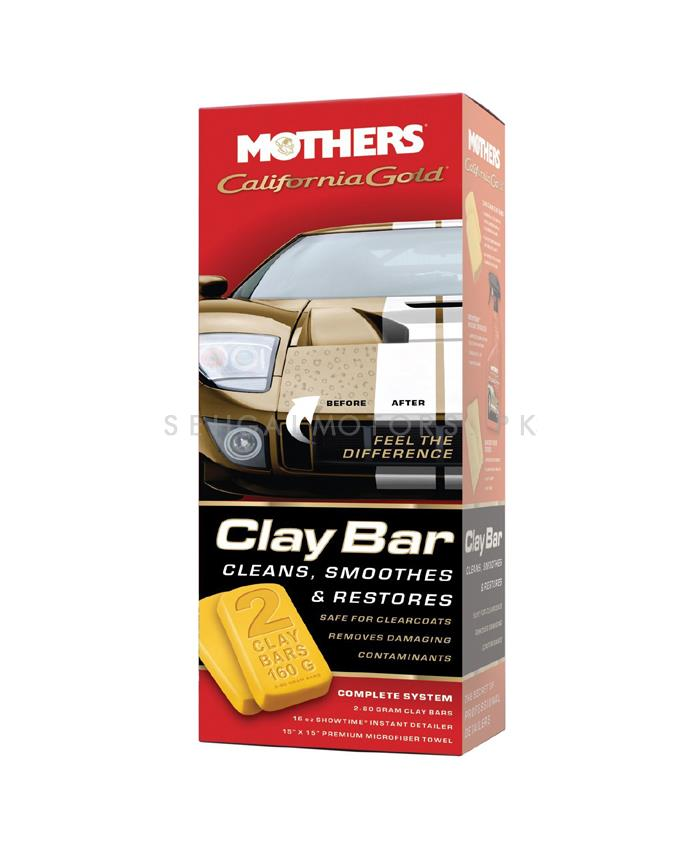 Mothers California Gold Clay Bar System Kit | Magic Car Clean Clay Bar Auto Detailing Cleaner Car Washer Blue | Auto Care Clay-SehgalMotors.Pk