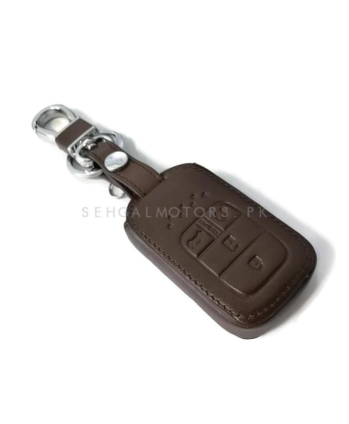 Honda Civic Leather key cover 4 Button with Key Chain / Key Ring- Model 2016 - 2017-SehgalMotors.Pk