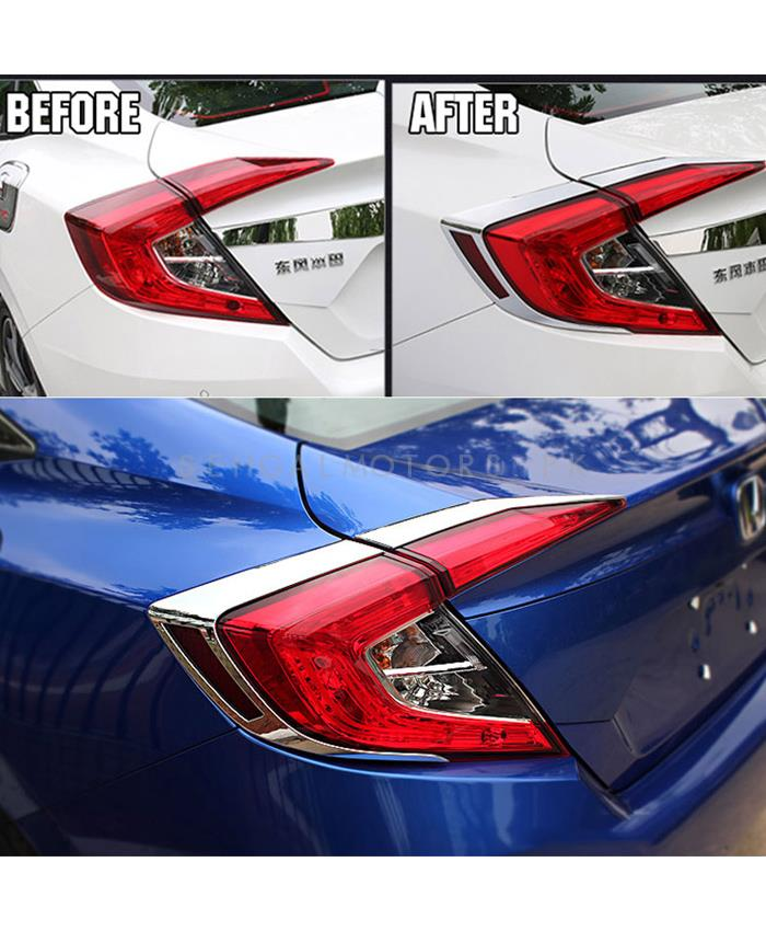 Honda Civic Back lights Chrome - Model 2016-2020 MA001034+1035-SehgalMotors.Pk