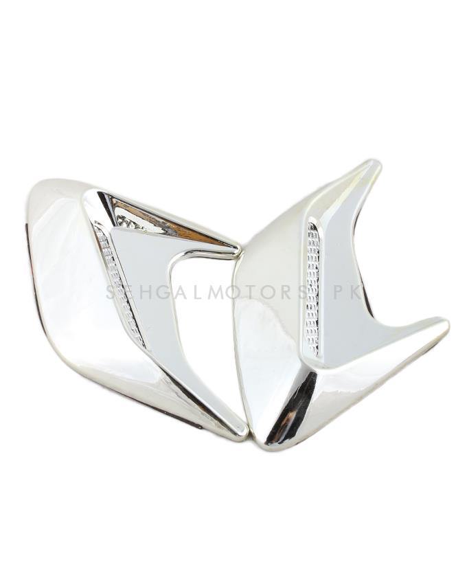 Car Fender Air Flow Chrome - Pair-SehgalMotors.Pk