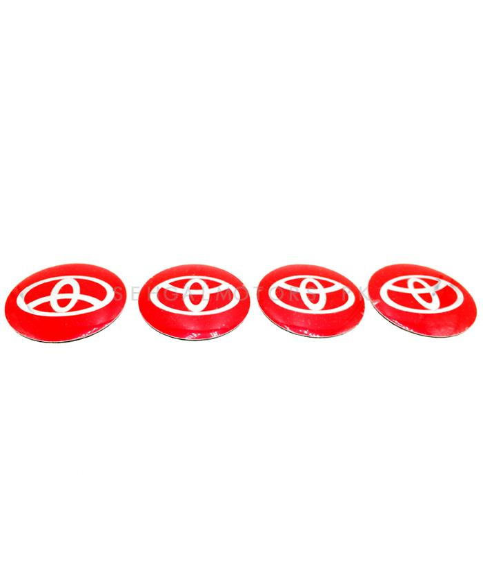 Toyota Wheel Cap Logo Red - 4 Pieces | Wheel Center Cap | Wheel Logo | Wheel Center Hub Caps | Wheel Dust Proof Covers Badge logo-SehgalMotors.Pk