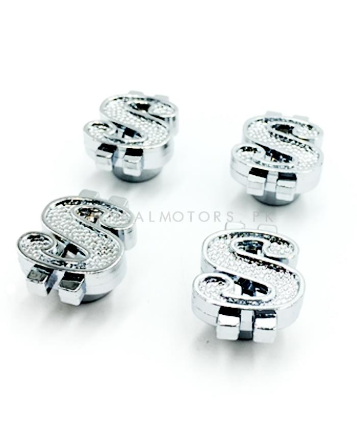 Dollar $ Sign Tire / Tyre Air Valve Nozzle Caps - 4 Pieces-SehgalMotors.Pk