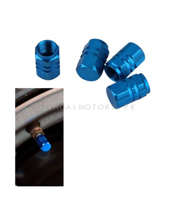 Tire / Tyre Air Valve Nozzle Caps Blue - 4 Pieces | High Quality Aluminum Tyre Valve Caps | Wheel Tire Covered Protector Dust Cover -SehgalMotors.Pk
