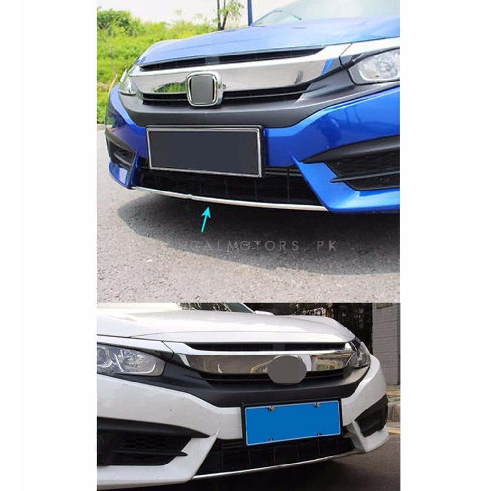 Honda Civic Front Bumper Chrome - Model 2016-2021 | Bumper Chrome | Chrome For Front Bumper | Bumper Chrome Accessories | Chrome Bumper Trim-SehgalMotors.Pk