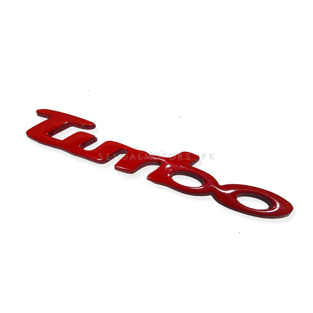 Turbo Metal Logo Large Red | Emblem | Decal | Monogram | Logo-SehgalMotors.Pk