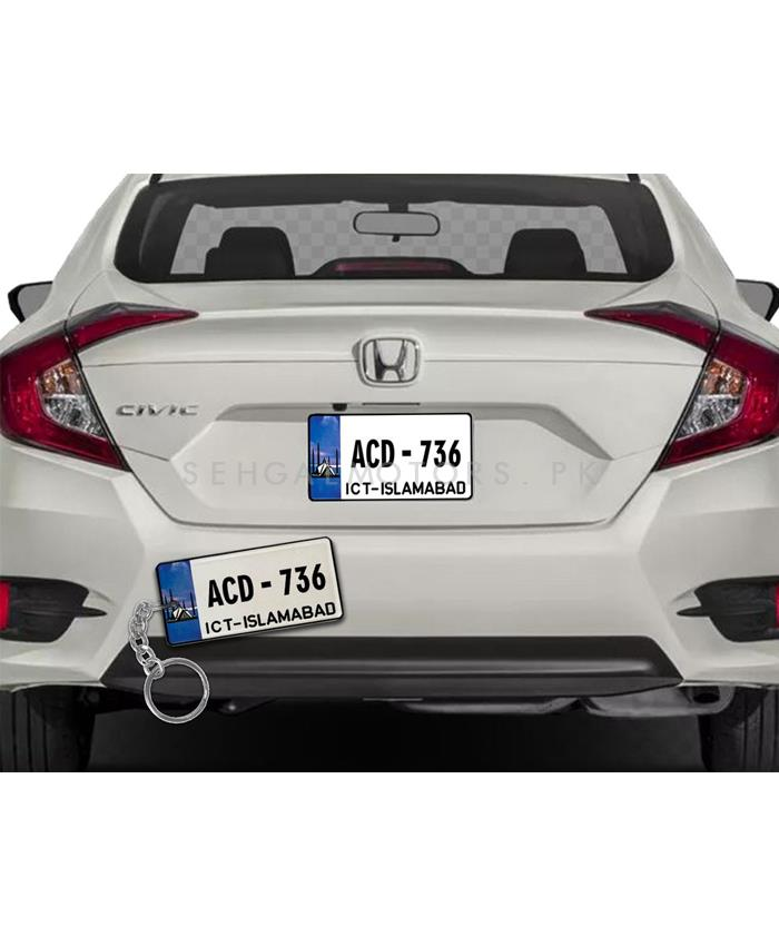 Customized Islamabad New Number Plate With Car Number Metal Key Chain-SehgalMotors.Pk