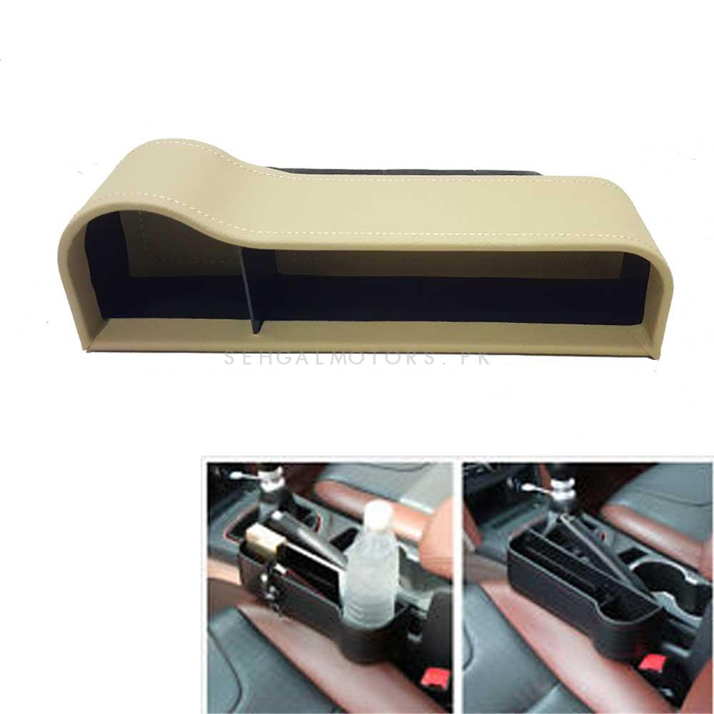 Car Seat Gap Filler Leather Cup Holder Beige - Each-SehgalMotors.Pk