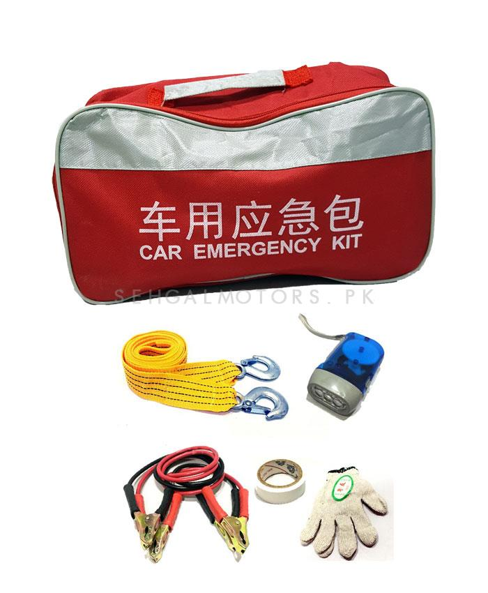 SOS Car Emergency Kit Small | Jump Start Cables , Towing Strap Hook, Gloves, Fuse and Hand Held Torch-SehgalMotors.Pk