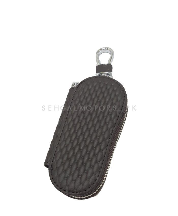 Universal Zipper Leather Key Cover Round Shape Brown-SehgalMotors.Pk