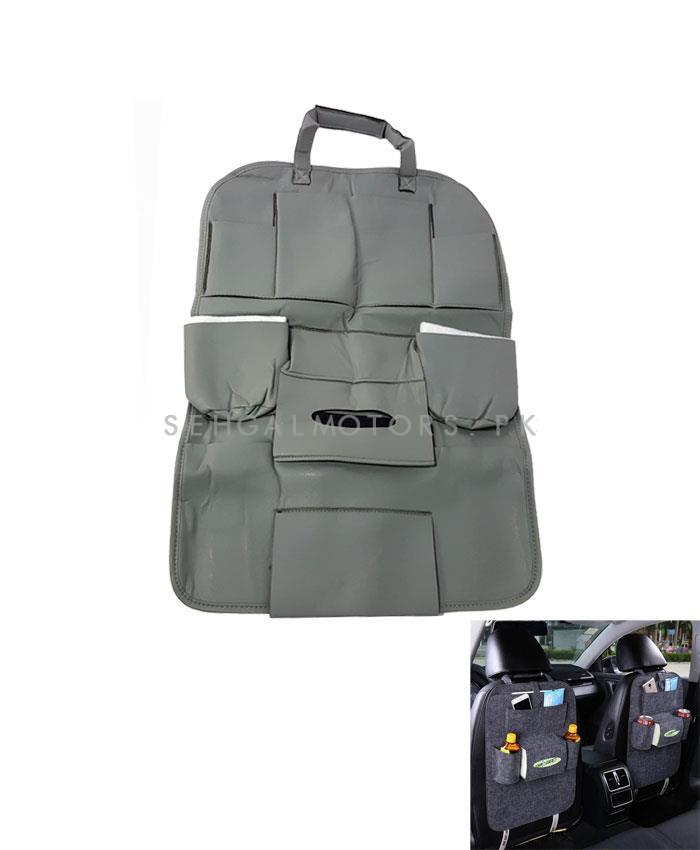 Back Seat Organizer Car Caddy in Leather Grey | Car Back Seat Organizer Pockets Universal Car Seat Storage Pocket Cars Back Seat Bag Organizer Auto Accessories-SehgalMotors.Pk