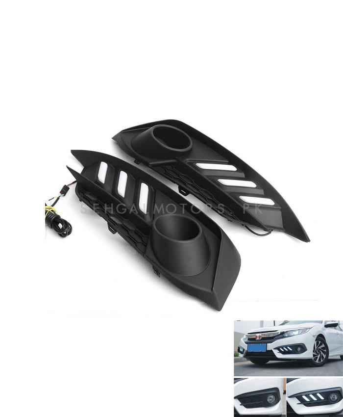 Honda Civic Fog Lamps DRL Cover Mustang Style - Model 2016-2019-SehgalMotors.Pk