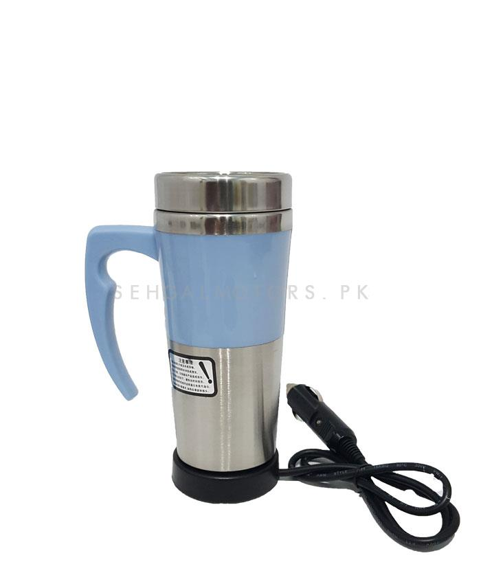 Premium Heated Car Electric Kettle Cup | Cup Kettle Travel Coffee Mug Electric Stainless Steel With Cigar Lighter Cable Car Water Keep Warmer Kettle-SehgalMotors.Pk