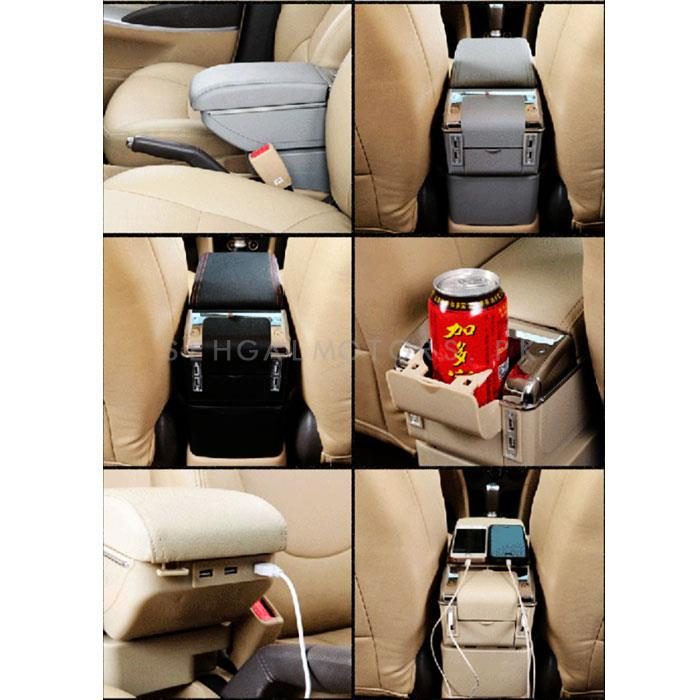 Car Universal Multi-functional 6 USB Arm Rest Black Color-SehgalMotors.Pk