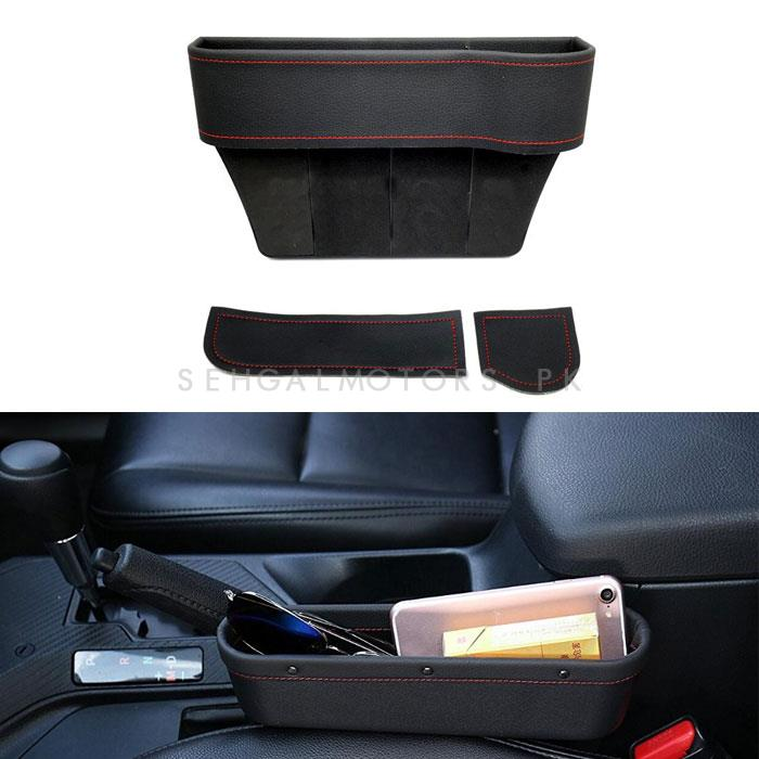 Seat Gap Filler Leather Red Stitch with Cup Holder Black -Each-SehgalMotors.Pk