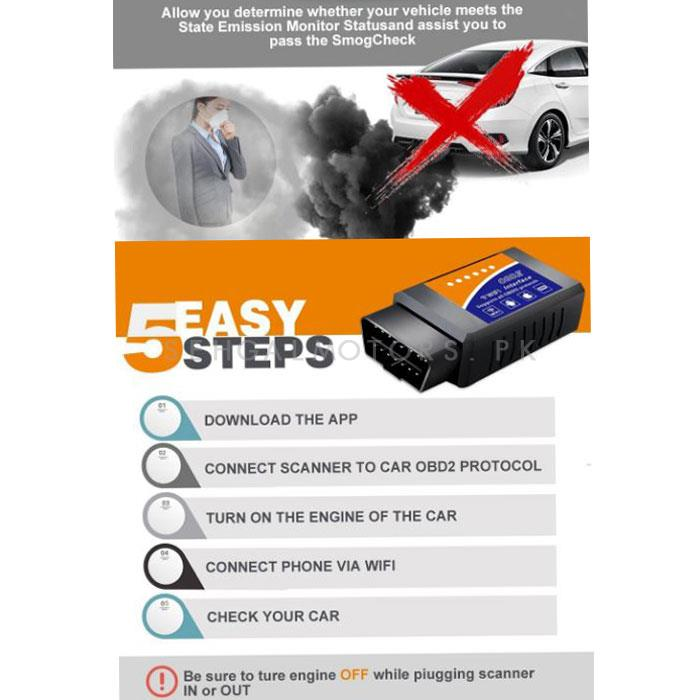 OBD2 Device Scanner with Bluetooth - Black | Connects with Mobile for Diagnostics and Error Code Removals-SehgalMotors.Pk
