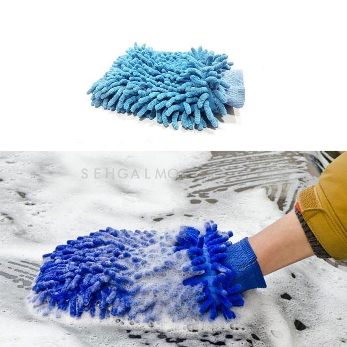 Microfiber Wash Mitt Gloves Blue Color-SehgalMotors.Pk