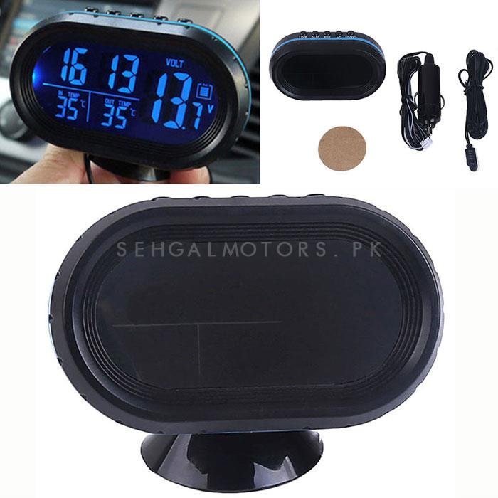 Car Digital LED Display Clock with Volt and Temperature Gauge With Option to Change Back lit Color | Random Color Blue/Green/Red-SehgalMotors.Pk