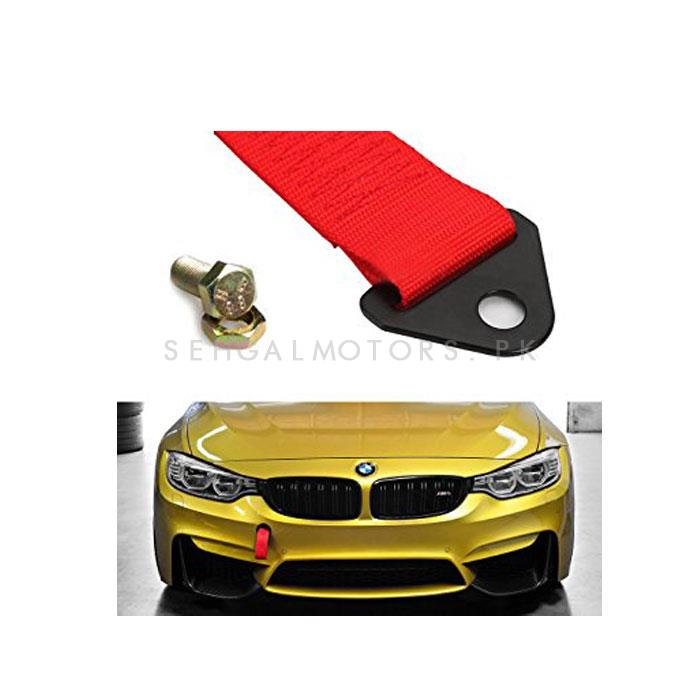 Car Front Bumper Strap Tow Hook - Red | Towing Hook Assist | JDM Modification Products | Random Logo-SehgalMotors.Pk