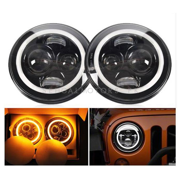 Jeep LED Projection Headlight with Round DRL - 7-inches-SehgalMotors.Pk