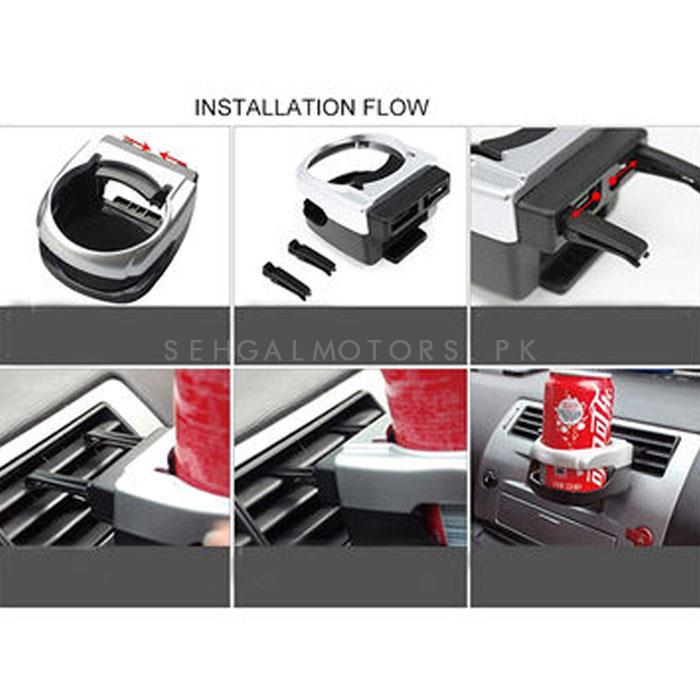 Multifunction Plastic Air Outlet Clip Car Cup Holder-SehgalMotors.Pk