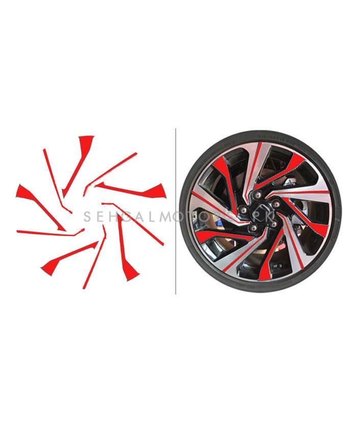 Honda Civic 3D Rim Sticker 16 inches Red - Model 2016-2019-SehgalMotors.Pk