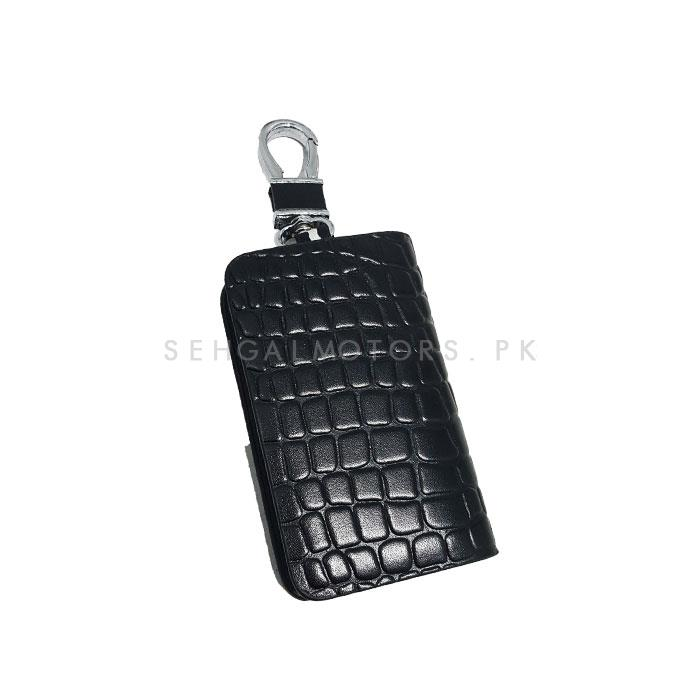 Universal Zipper Crocodile Style Leather Key Cover - Black Pouch-SehgalMotors.Pk
