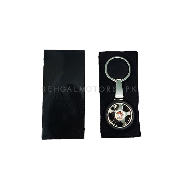 Toyota Tire / Tyre Rim Key Chain / Key Ring With Red Logo-SehgalMotors.Pk
