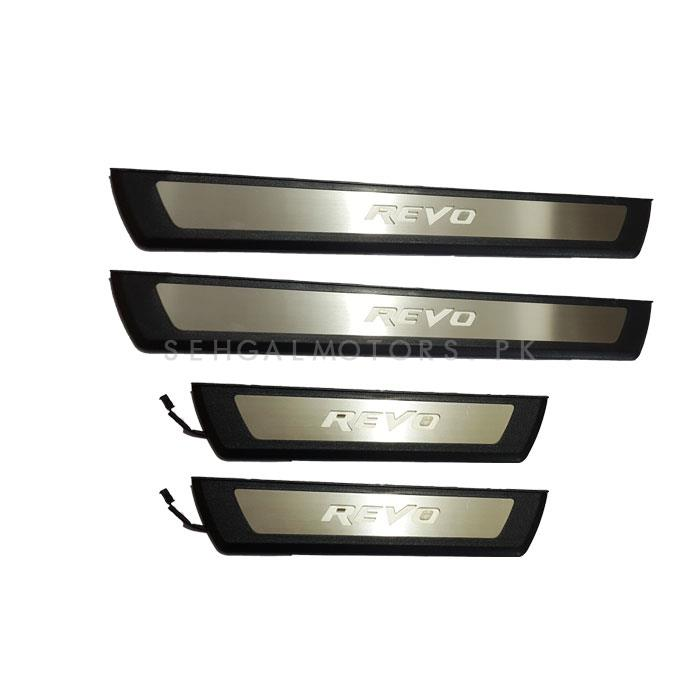 Toyota Hilux Revo Black Chrome LED Sill Plates / Skuff LED panels Style B - Model 2016-2020-SehgalMotors.Pk