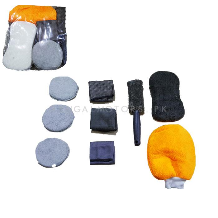 Car Wash Detailing 9 In 1 Microfiber Cleaning Kit Set- 9 pcs-SehgalMotors.Pk