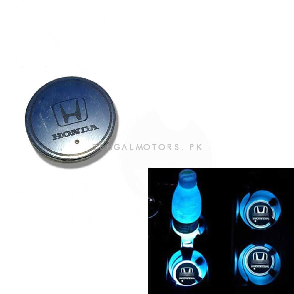 Honda RGB LED Car Cup Holder Plate - 1 piece  | Car RGB LED Cup Holder Mat Pad Coaster Rechargeable Interior Atmosphere Lamp Decoration Light for Car Home Party | RGB LED Cup Holder Car Cup Pad Cup Holder Mat Water Drinks Pad Light Car Accessories-SehgalMotors.Pk