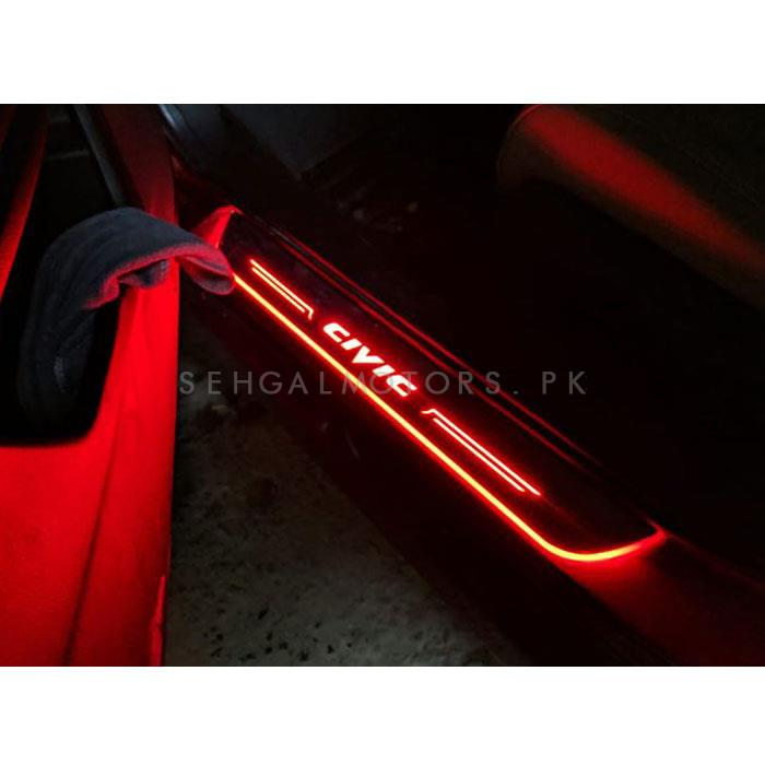 Honda Civic Sill Plates with LED Bar Red - Model 2016-2019-SehgalMotors.Pk