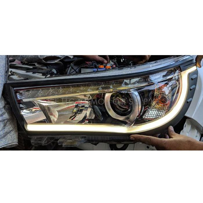 Toyota Hilux Revo LED Headlights / Head Lamps Cover Black - Model 2016-2020-SehgalMotors.Pk