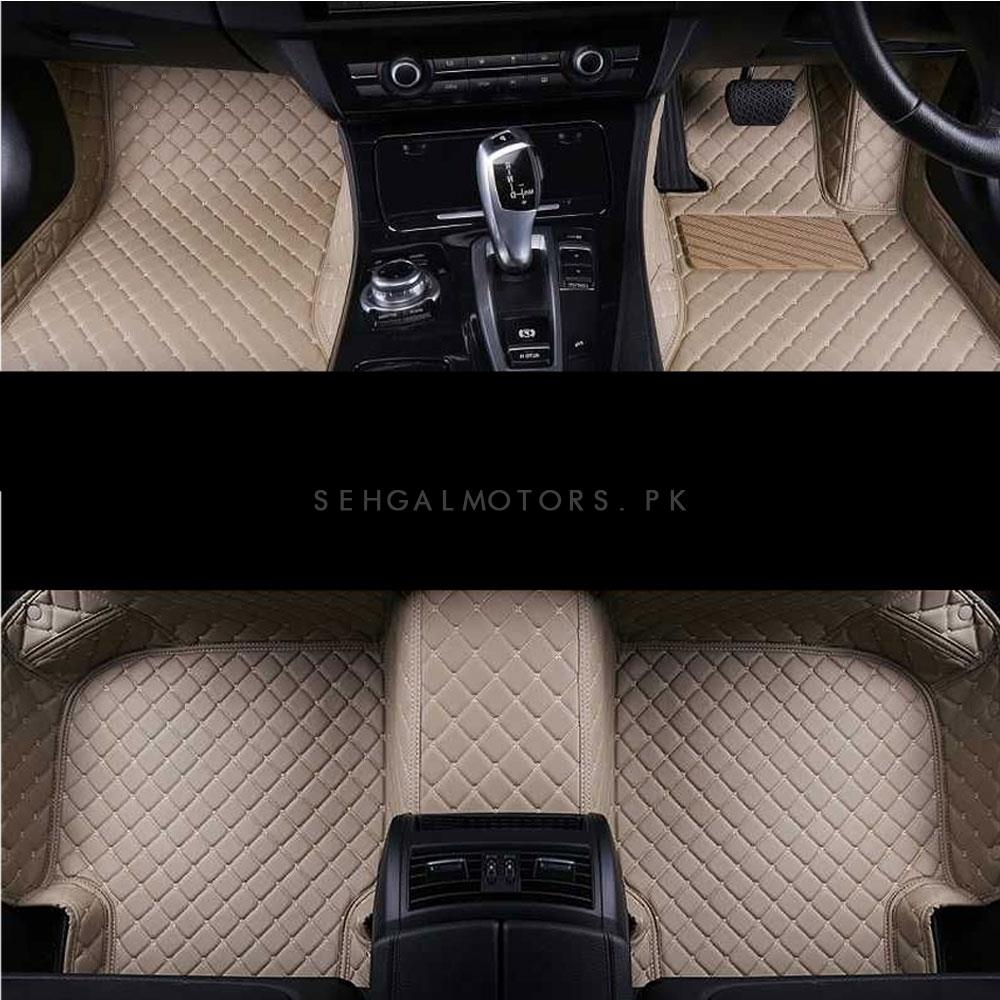 Toyota Fortuner 7D Stitched Floor Mat With Trunk Mat Beige 5 Pcs - Model 2016-2021	-SehgalMotors.Pk