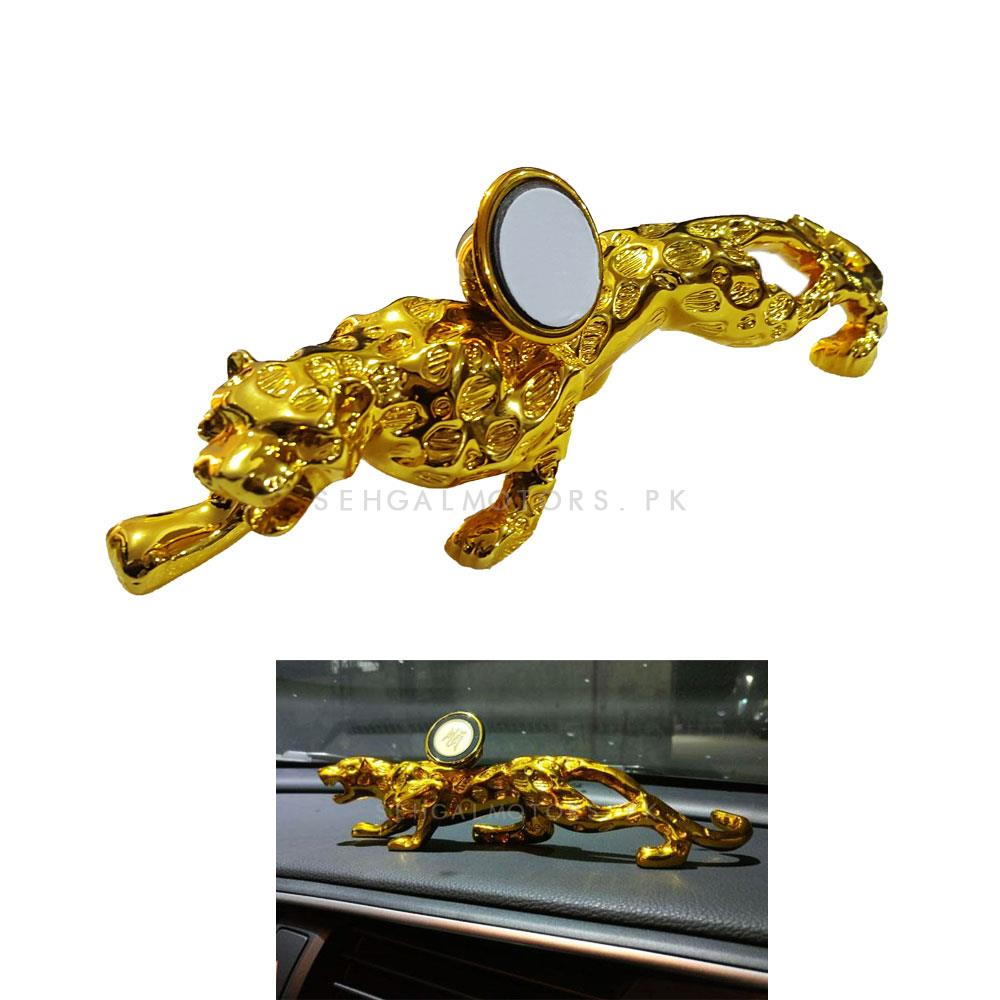 Lion Sculpture Dashboard Mobile Holder - Golden-SehgalMotors.Pk