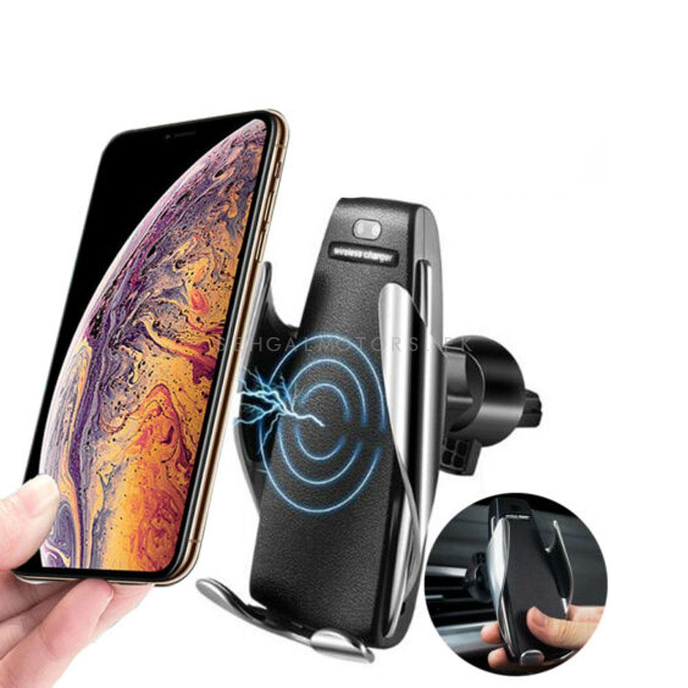 Automatic Sensor Qi Wireless Fast Mobile Charger Car Mount Phone Holder-SehgalMotors.Pk