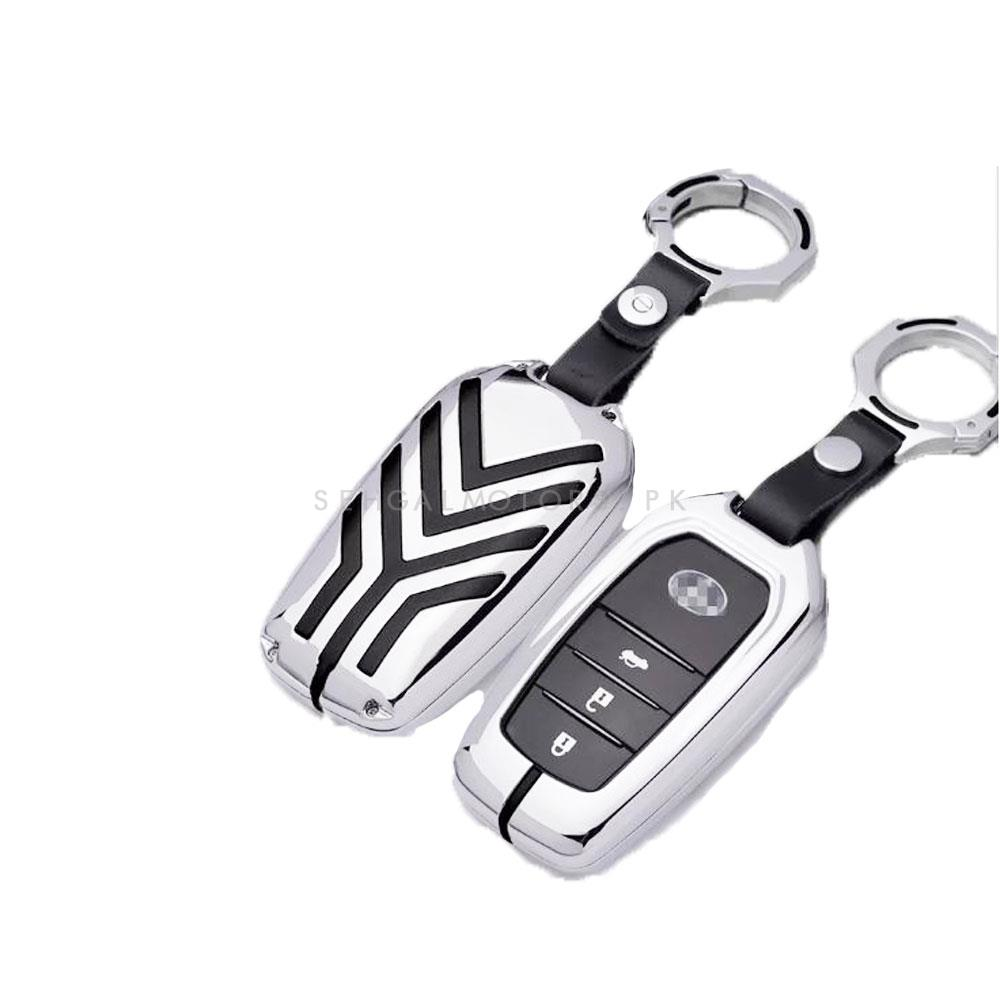 Toyota Fortuner Replacement Key Shell Case Cover Full Chrome - Model 2016-2021-SehgalMotors.Pk