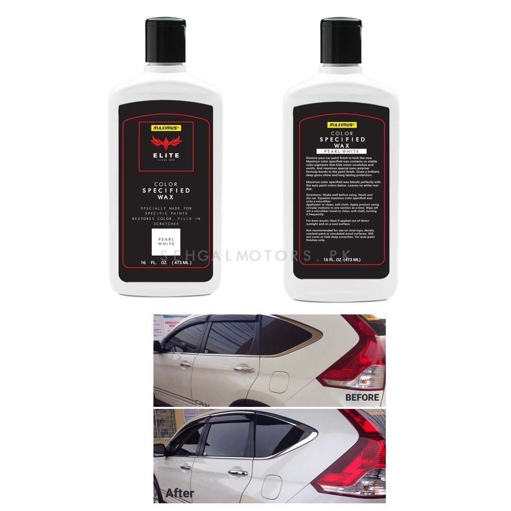 Maximus Elite Class Car Color Wax - Pearl White  | Car Paint Scratch Paint Care Auto Polishing Repair Wax | Color Magic Car Automobiles Paint Polishing Care | Water Repellent | Shining Gloss Look Polish | Color Restorer | Scratch Filling Polish-SehgalMotors.Pk