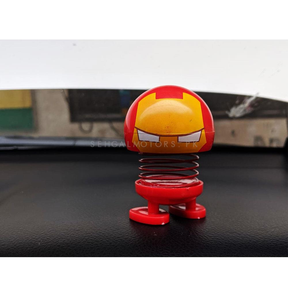 Bouncing Car Dashboard Smileys Emoji Emoticon Toy - Iron Man-SehgalMotors.Pk